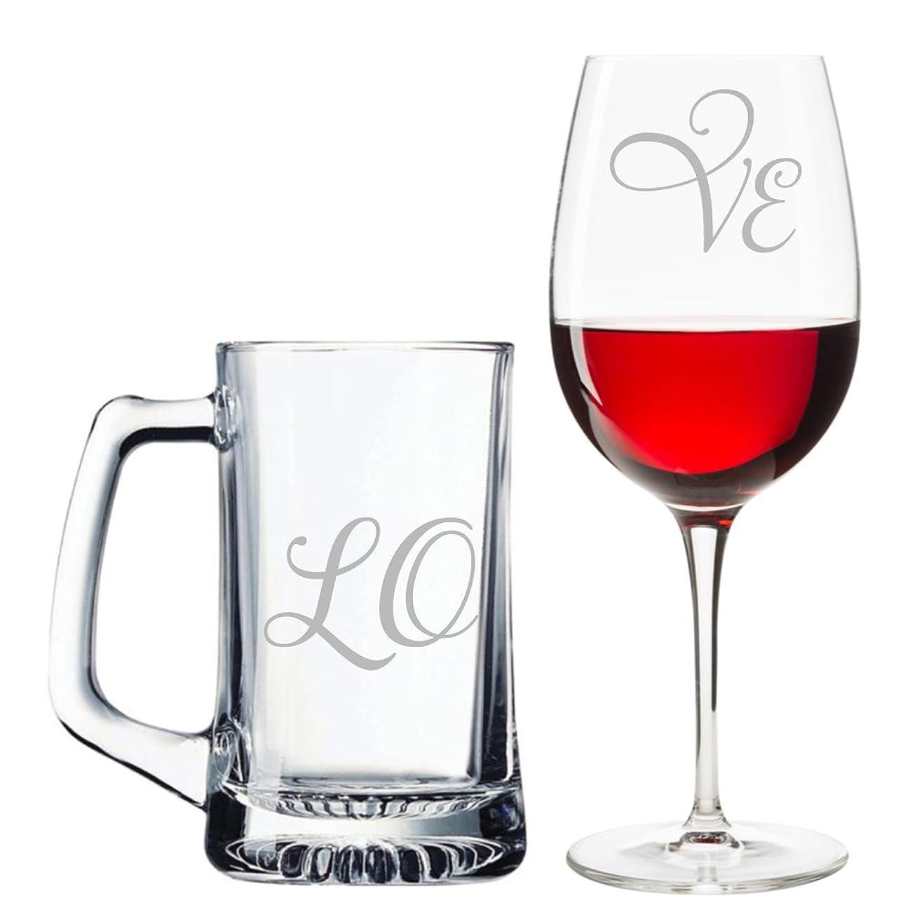 アパートヘア抑制するLoveスクリプトBeer Mugとワイングラスセット