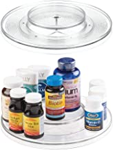 "mDesign Spinning 2-Tier Lazy Susan Turntable Storage Bin - Rotating Organizer for Vitamins, Supplements, Serums, Essential Oils, Medical Supplies, First Aid Supplies - 11.5"" Round, 2 Pack - Clear"