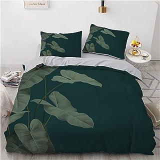 YZHY Tropique Plantes Floral Jungle Motif Ensemble de Housse de Couette, Parure de lit avec taies d'oreiller, Microfibre, ...