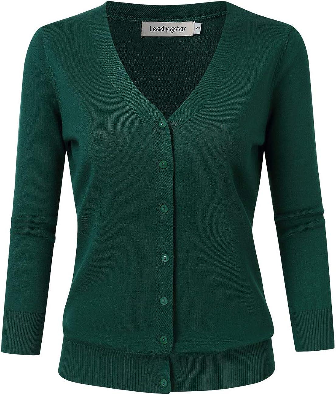 Portland Mall Popular brand Leadingstar Women's 3 4 Sleeve Button Sweater Cardigan Down