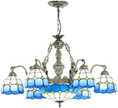 Blue Mediterranean Chandelier Multi-Arm Tiffany Style Retro Pendant Lamp Handmade Stained Glass Hanging Lighting Fixture f...