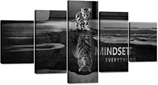 """Yatsen Bridge Cat Canvas Painting Tiger Wall Art Pictures 5 Panels Cute Animal Poster Modern Inspiring Print Artwork Wooden Home Decor for Living Room Bedroom Office Framed Ready to Hang (60""""Wx32""""H)"""