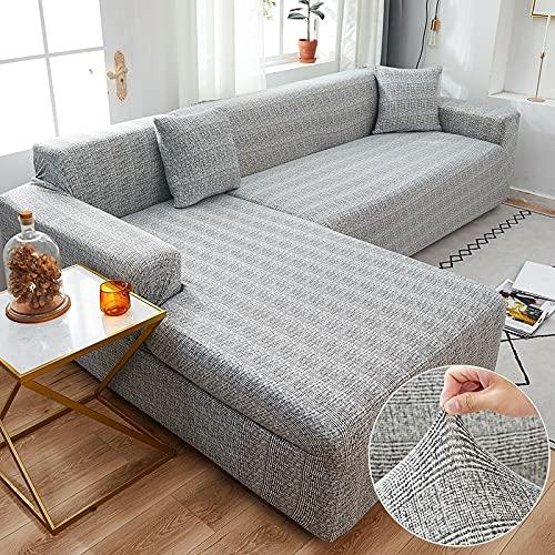 MKQB Funda de sofá telescópica elástica, Funda de sofá de Esquina en Forma de L para Sala de Estar, Funda de sofá para Muebles de protección para Mascotas N ° 11 L (190-230cm)