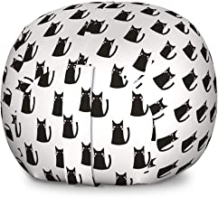Ambesonne Cat Storage Toy Bag Chair, Abstract Cat with Pinkish Cheeks Modern Design Animals Monochrome, Stuffed Animal Organizer Washable Bag for Kids, Large Size, Charcoal Grey Pale Pink