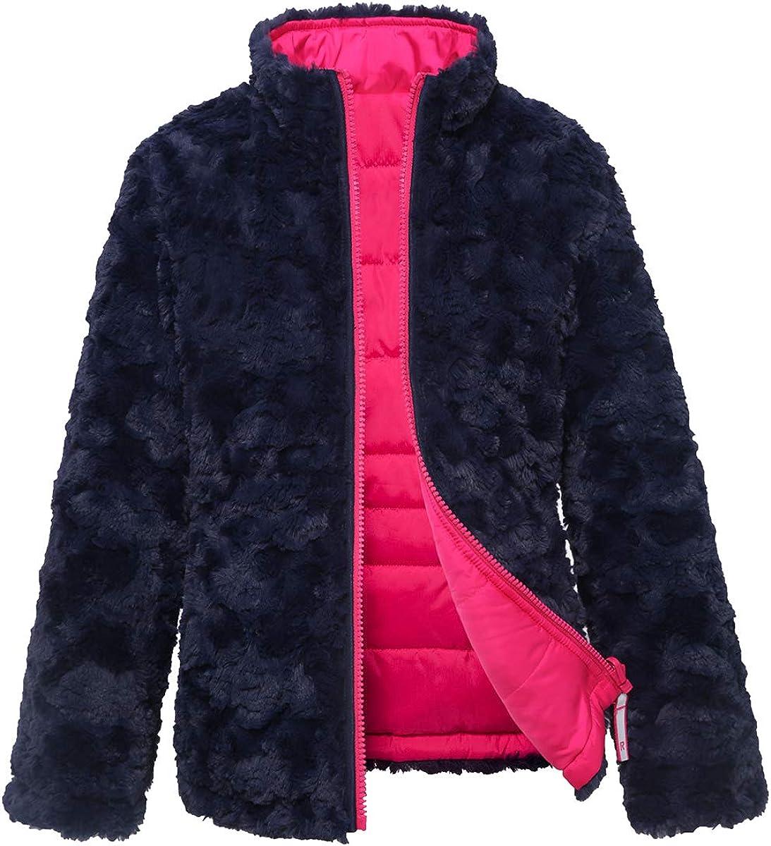 Rokka&Rolla Girls' Reversible Water-Resistant Teddy Sherpa Fleece Puffer Jacket Coat