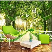 Xbwy 装飾壁画壁紙森の風景パス動物フレスコリビングルームテレビソファ背景-350X250Cm