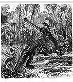 Sketchy Duschvorhang Altes Krokodil im Walddruck für Badezimmer