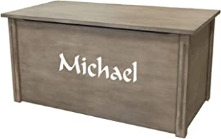 Wood Toy Box, Large Gray Toy Chest, Personalized Calligraphy Font, Custom Options (Standard Base)