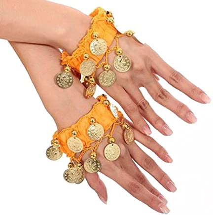 Pair Of Belly Dance Wrist Cuff Ankle Chiffon Bracelet Band With Coin (Yellow)