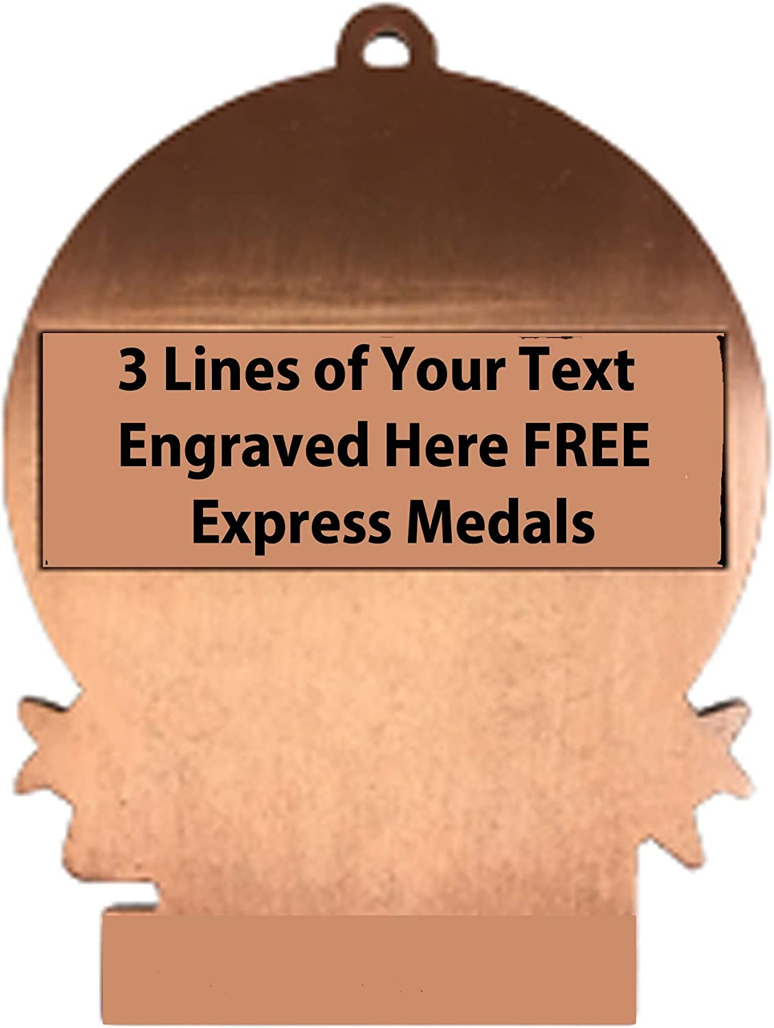 Express Medals Large 3 Color Softball 3rd Place Medal Bronze with 3 Lines of Personalized Free Engraving and Neck Ribbon Award Trophy XMD