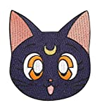 Sailor Moon Patch (3,5 pouces) noir Luna chat brodé fer à coudre sur l'insigne Applique rétro Cartoon Manga Souvenir Costume Magic