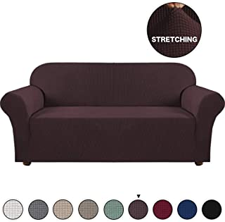 Turquoize Stylish Furniture Cover/Protector 1-Piece Stretch Sofa Slipcover for 4 Seater Cushion Couch Loveseat Sofa Cover Extra Large No Slipping Living Room Furniture Covers (Oversize Sofa, Brown)
