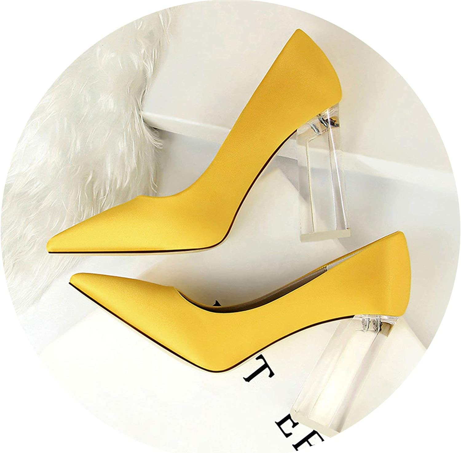 HANBINGPO New Pointed Toe Transparent Block High Heels Stain Yellow Pumps Escarpins Women Fall Spring Elegant Lady Office Party shoes,Yellow,4