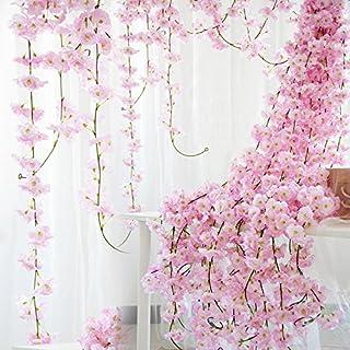 comprar comparacion StarLifey - Guirnalda de Flores de Cerezo Artificial para Colgar, 6,5 pies, Flores de Seda, decoración para Bodas, Fiestas...