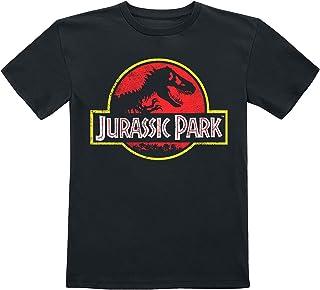Jurassic Park Enfants - Logo Usé Unisexe T-Shirt Noir,