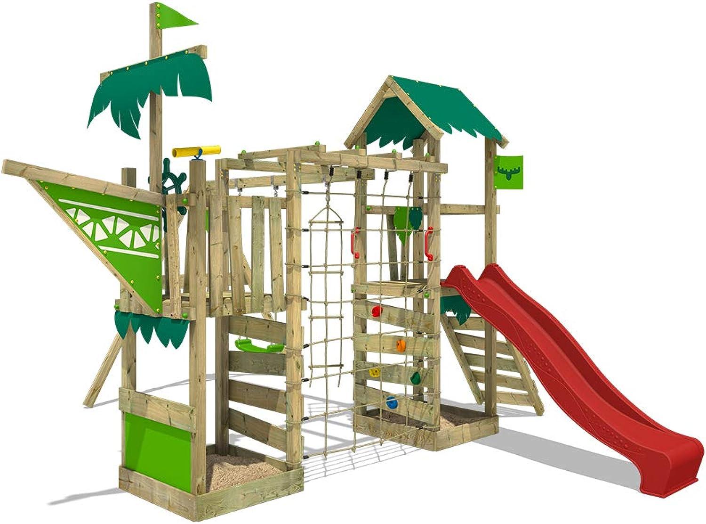 FATMOOSE Spielturm WaterWorld Wave XXL Klettergerüst mit Doppelschaukel, roter Rutsche und Kletterwand