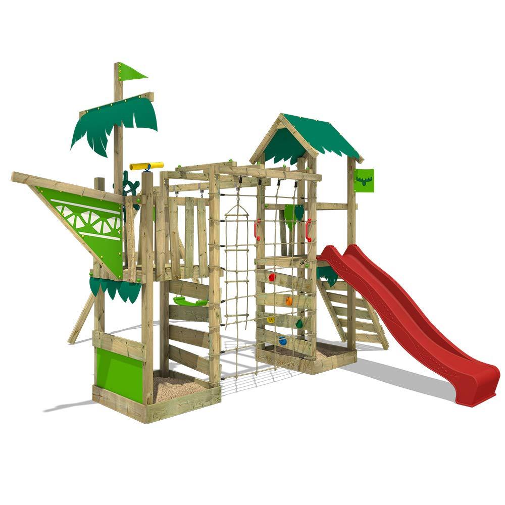 FATMOOSE Parque infantil de madera WaterWorld Wave XXL con columpio y tobogán rojo, Torre de escalada de exterior con arenero y escalera para niños: Amazon.es: Bricolaje y herramientas