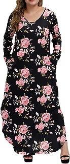 Women's Casual Loose Plus Size Dress Long Sleeve Colored Stripe Floral Pocket Split Maxi Dresses