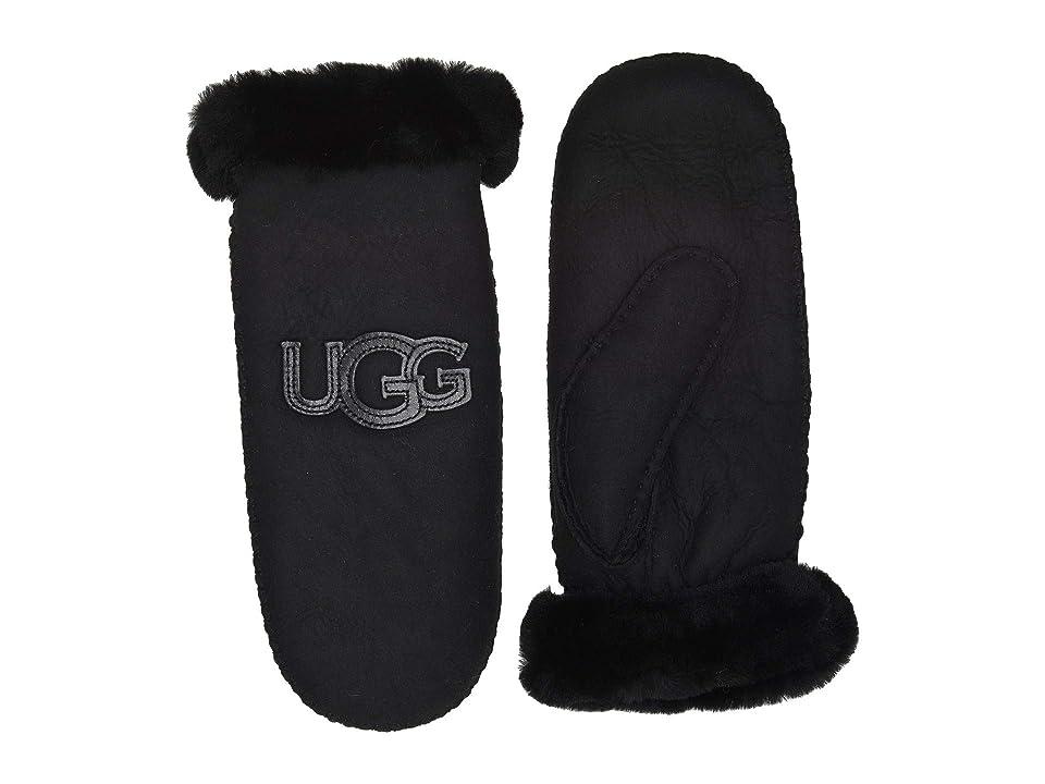 UGG Logo Water Resistant Sheepskin Mitten (Black) Extreme Cold Weather Gloves