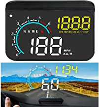 FIUNED Head up Display,Upgrade Universal Car HUD Dual Mode OBD2/GPS Windshield Projector with Speed,OverSpeed Alarm, KMH/M...