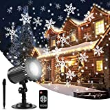 ALOVECO Christmas Snowflake Projector Lights, Upgrade Rotating LED Snowfall Projection Lamp with Remote Control, Outdoor Waterproof...