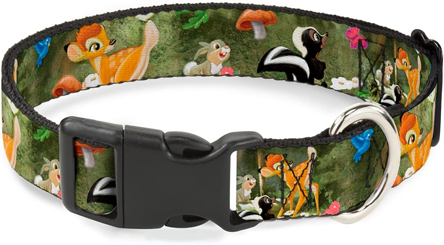 BuckleDown Bambi & Friends Scene Plastic Clip Collar, Small 915