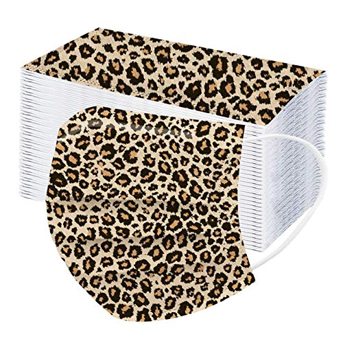 mzDkc0d 10-100 Stück Erwachsene Mundschutz Multifunktionstuch, Einweg 3-lagig Leopardenmuster Gedruckt Maske, Staubdicht Atmungsaktive Vlies Mund-Nasenschutz Bandana Halstuch