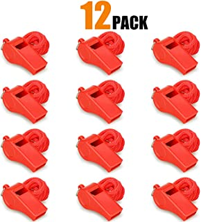 Hipat Red Emergency Whistles with Lanyard,  Loud Crisp Sound,  12 Packs Plastic Whistle Bulk Ideal for Lifeguard,  Self-Defense and Emergency