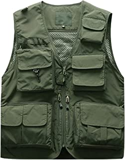 Christor Men's Autumn Winter Outerwear Gilets Multi Pocket Cargo Sleeveless Jackets Outdoors Fishing Photography Hiking Wa...