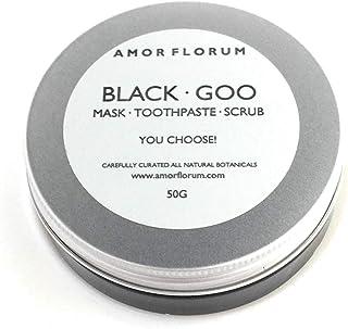 BLACK GOO - PASTA DE LIMPIEZA DE CARBÓN ACTIVADO con Aceite de Coco y Menta - 60g - por AMOR FLORUM. Una pasta multiuso natural que puede usarse como pasta de dientes o como exfoliante.