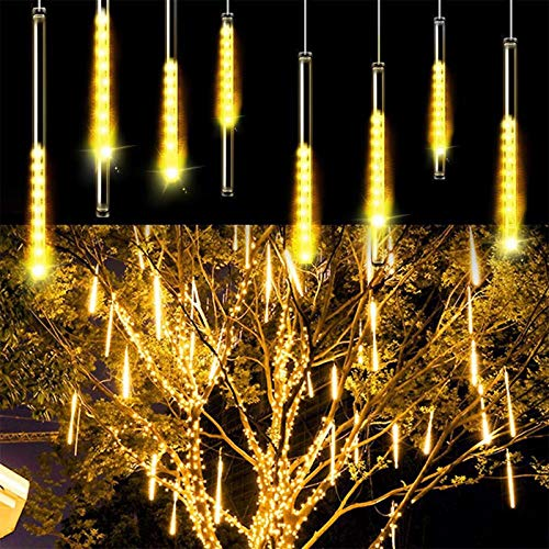 Huabfeil Meteor Shower Lights, Led Icicle Lights, Falling Raindrop Christmas Lights, Waterproof Cascading Lights for Holiday Party Wedding Christmas Tree Decoration 11.8 inch 8 Tubes
