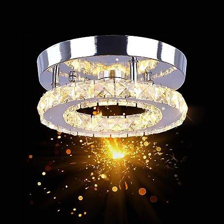 Osairous Plafonnier en Cristal, Ø20CM Lampe de Plafond LED, 16W Lustre Cristal Moderne pour Chambre, Couloir, Cuisine, Trois Modes 3000 à 6500K