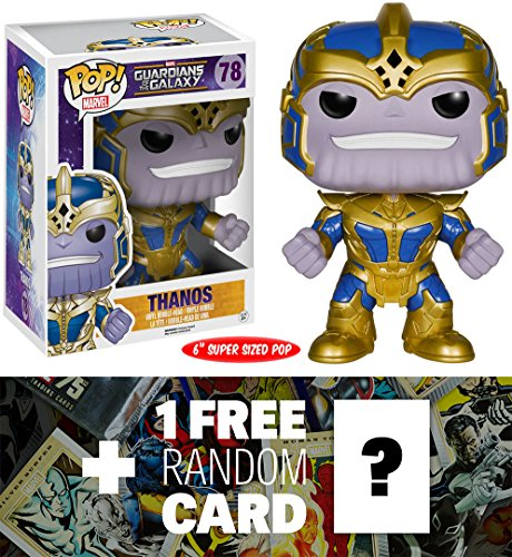 "Guardians of the Galaxy Thanos: ~6"" Deluxe Funko POP! x Mini Bobble-Head Vinyl Figure + 1 Free Official Marvel Trading Card Bundle [51051] image"