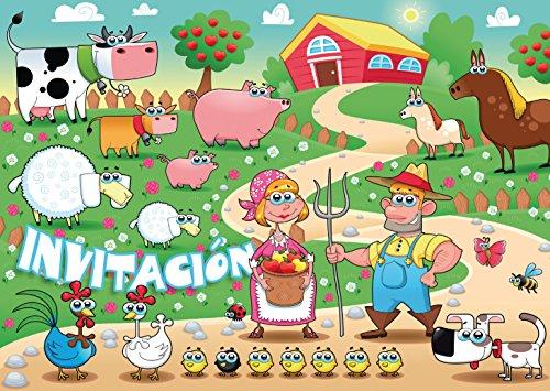"""Edition Colibri 10 Invitaciones en español """"Animales Divertidos"""": Juego de 10 Invitaciones al cumpleaños Infantil en la Granja o finca (10962 ES)"""