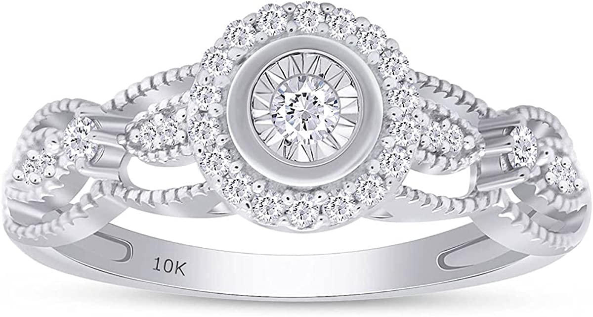1/6 Carat Round Shape White Natural Diamond Vintage Style Engagement Ring In 10k White Gold (0.16 Cttw)