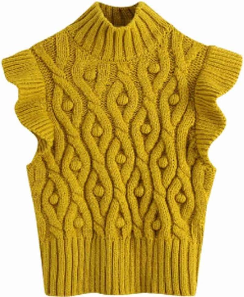 PDGJG Fashion Women's Ruffle Sleeve Vest Autumn Yellow Mock Neck Ladies Casual Women's Vest Slim Girl (Size : L code)