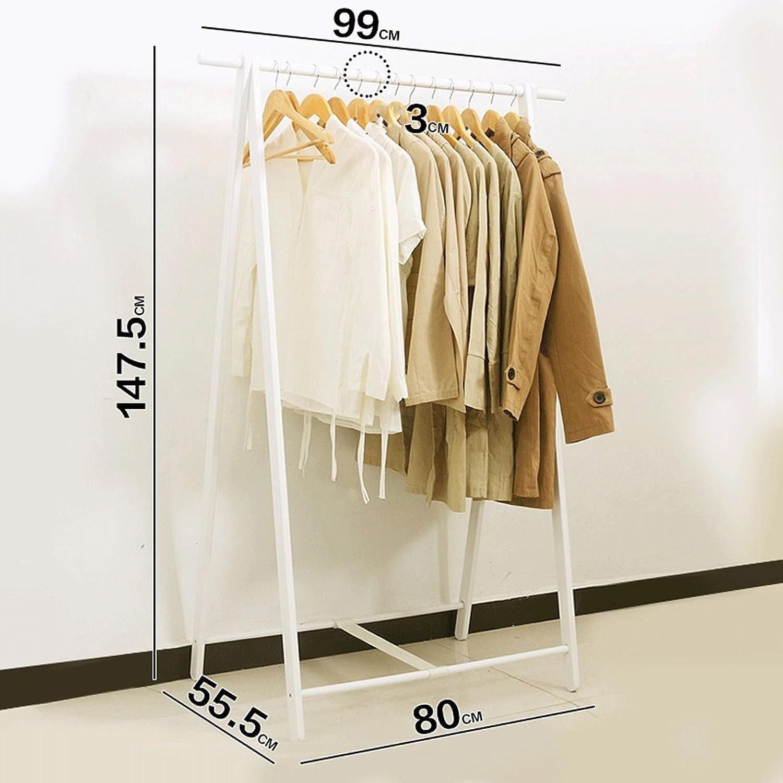 Coat rack Solid Wood Coat Rack Floor Hanger Floor Standing Bedroom Home Shelf Clothes Rack,H147.5CMW99CM (color   White)