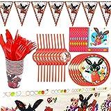 TRRY Bing Bunny Set di Articoli per Feste e Set di Stoviglie, Piatto Carta Set Stoviglie Feste Bicchiere Carta, Adatto per Regali Bambini, Anniversario, 82pcs