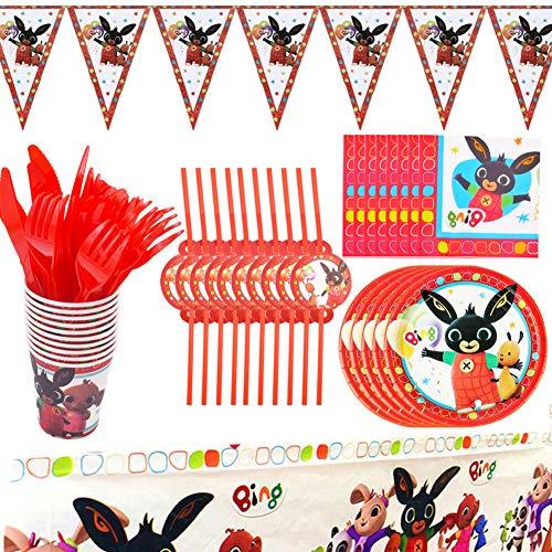 BAIBEI Partygeschirr Geburtstag, Bing Bunny Partygeschirr Enthält Teller, Stroh, Tassen, Servietten, Löffel, Gabeln, Messer, Tischdecke und Banner, für 10 Personen