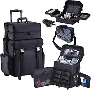 KIOTA 2 In 1 Make Up Rolling Case | Trolling Cosmetic Organizer with Removable Drawers | Professional Makeup Train Cases On Wheels (Black Canvas)