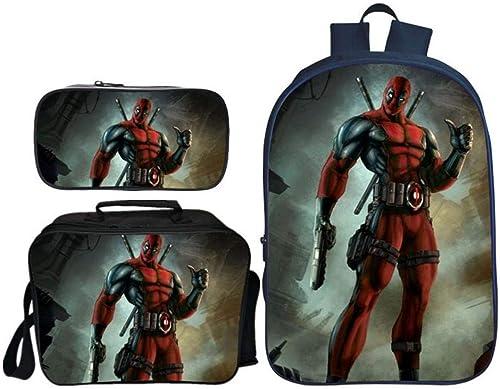 RLJqwad Sac à Dos pour école Primaire en Trois Parcravates Sac à Dos Marvel Anime Sac à Dos Deadpool Sac à Dos pour Enfants Print Deadpool