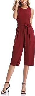 Dilgul Women's Summer Sleeveless Wide Leg High Waist 3/4 Jumpsuits with Belt