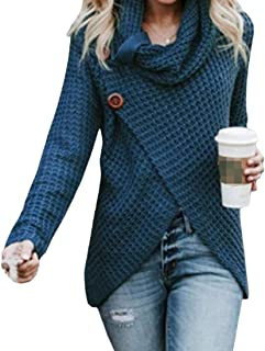 Macondoo Women Top High Neck Solid Color Long Sleeve Knitwear Jumper Sweaters
