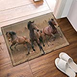 HiSoho Three Brown Horses Running in Gray Bath Rugs Non-Slip Floor Entryways Outdoor Indoor Front Door Mat,60x40cm Bath Mat