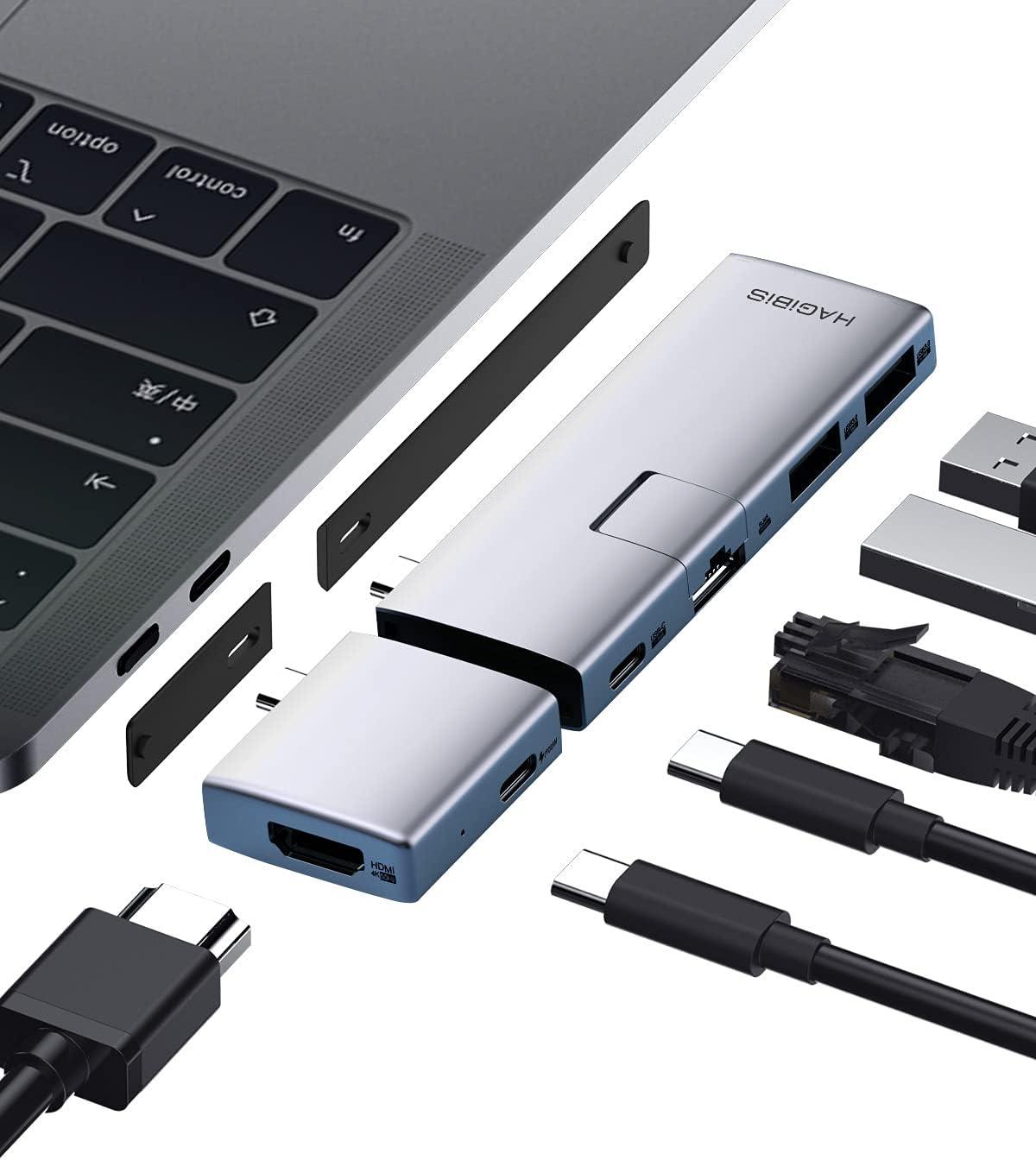 Hagibis USB C Hub Modular Magnetic USB Type-C Hub with 4K@60Hz HDMI, Separated Dual USB-C Adapter for MacBook Pro Air M1/2020/2019/2018 iPad Pro, Gigabit Ethernet, USB 3.0, 100W Power Delivery (RJ45)