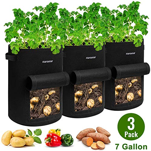 STARTOSTAR Grow Bags 7 Gallon,3 -Pack Potato Grow Bags,Garden Vegetable Planter Pot,Planting Bags Reusable Heavy Duty Thickened Non-Woven Plant Fabric Pots for Tomato, Strawberry, Carrots, Onions
