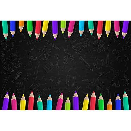Leyiyi 5x3ft Photography Background Welcome Back to School Backdrop Classroom Blackboard Vintage Grunge Graffiti Cement Board Wooden Table Pencil Color Pen Chalk Plane Photo Portrait Vinyl Studio Prop