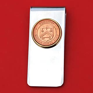 US Department of Treasury Seal Mint Token Coin Solid Brass Gold Silver Two Tone Money Clip New - High Quality