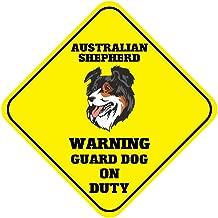 New Australian Shepherd Warning Guard Dog On Duty Crossing Metal Novelty Sign
