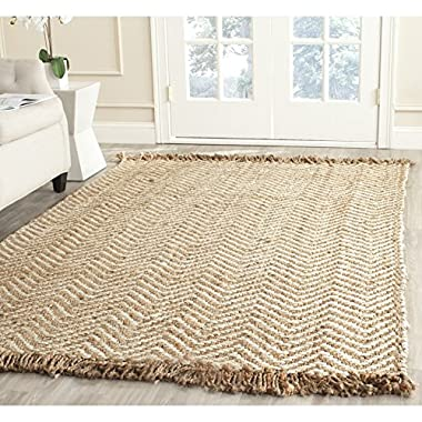 Safavieh Natural Fiber Collection NF458A Hand Woven Bleach and Natural Jute Area Rug (6' x 9')